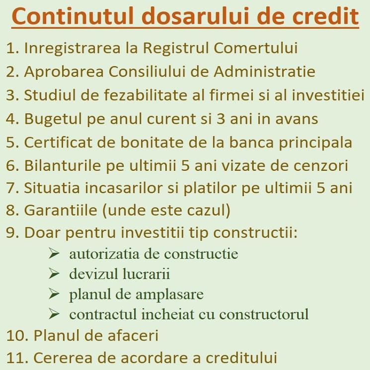 cererea de credit si ce trebuie sa contina dosarul